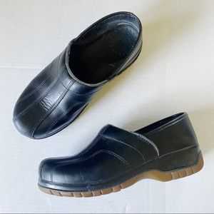 Dansko @ Work Black Leather Slip On Clog Shoes 40